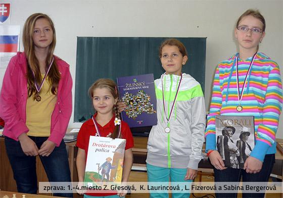 zprava: 1.-4.miesto Z. Gřesová,  K. Laurincová , L. Fizerová a Sabina Bergerová