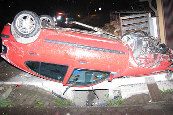 Vodič skončil s vozidlom na streche, nafúkal 2,46 promile