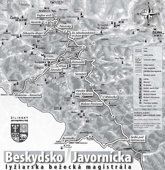Beskydsko-Javornícka lyžiarska bežecká magistrála + mapa