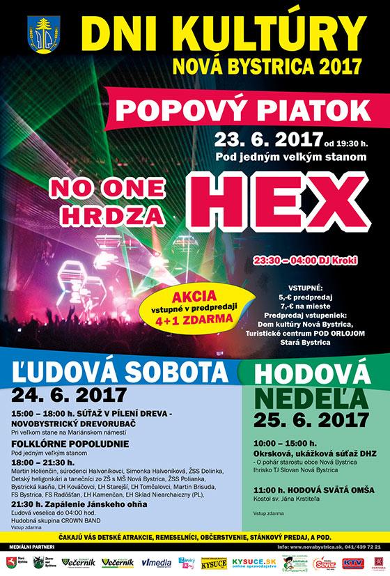 Dni kultúry Nová Bystrica 2017 - vystúpia NO ONE, HRDZA, HEX a veľa iného