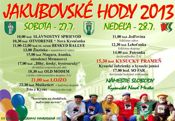 Jakubovské hody 2013 - program podujatí