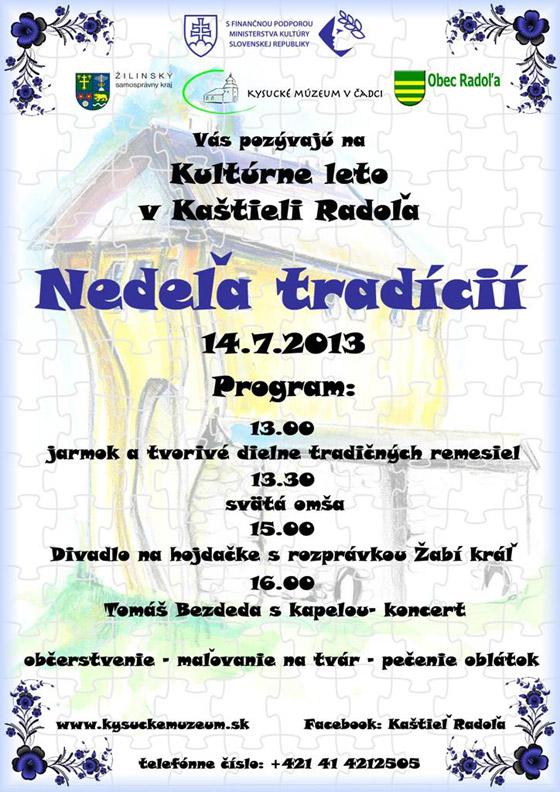 Pozvánka na nedeľu plnú tradícií v kaštieli Radoľa + koncert Tomáša Bezdedu