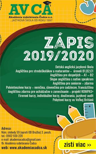 Akadémia vzdelávania - anglická jazyková škola - Zápis 2019